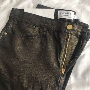 Lightweight Black and Gold Metallic Skinny Jeans